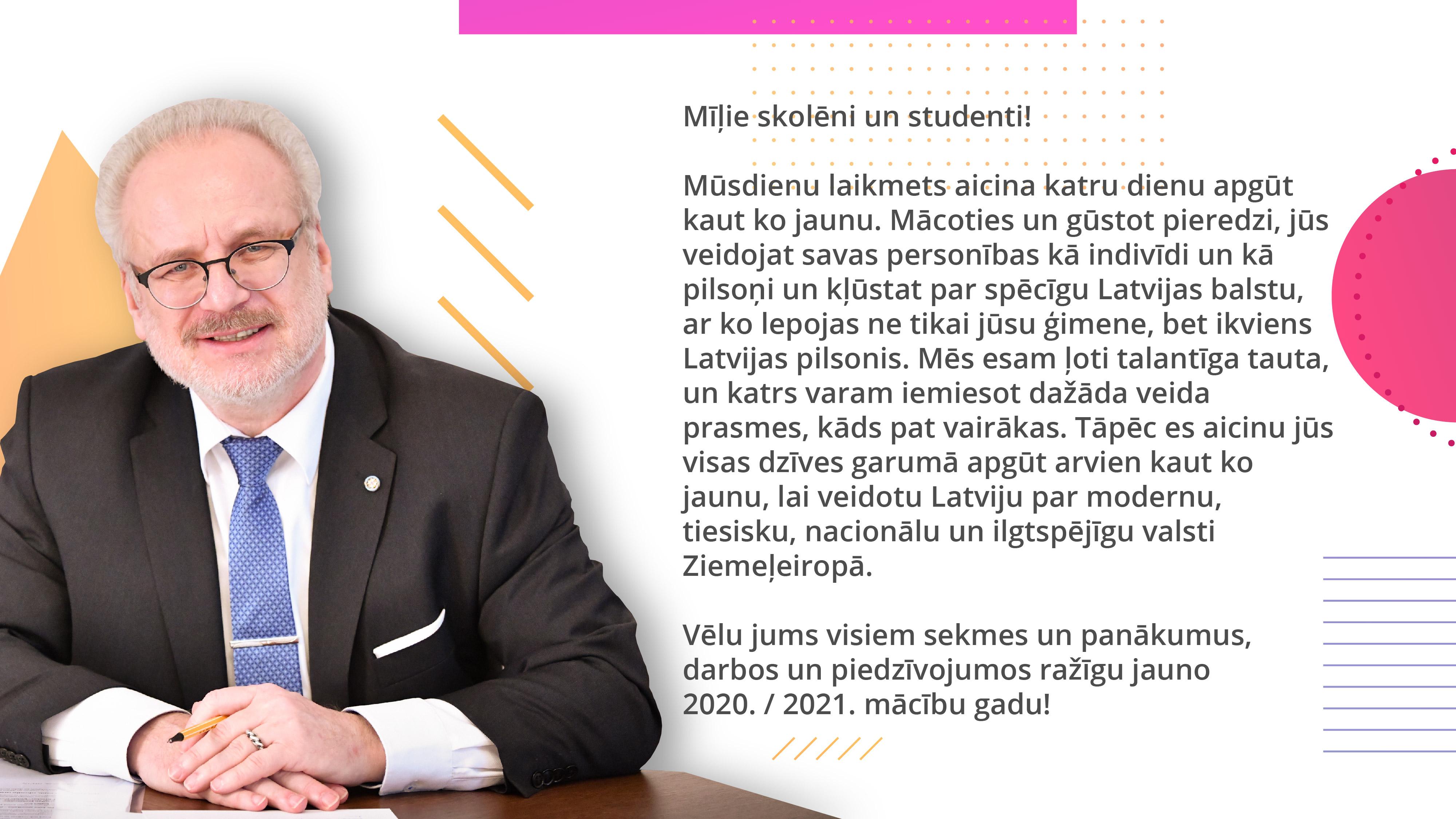 Valsts prezidenta Egila Levita apsveikums Zinibu diena 2020_skoleniem